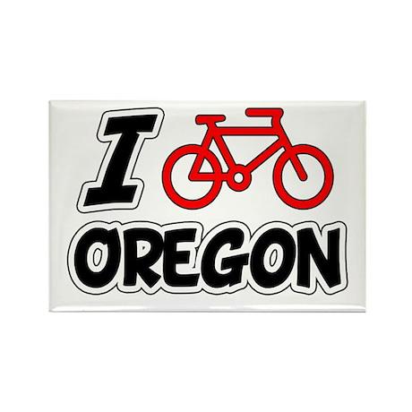 I Love Cycling Oregon Rectangle Magnet