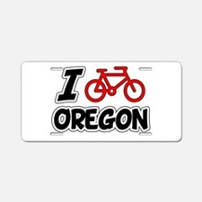 I Love Cycling Oregon Aluminum License Plate