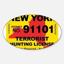 terrorist-hunting-license-NY.png Sticker (Oval)