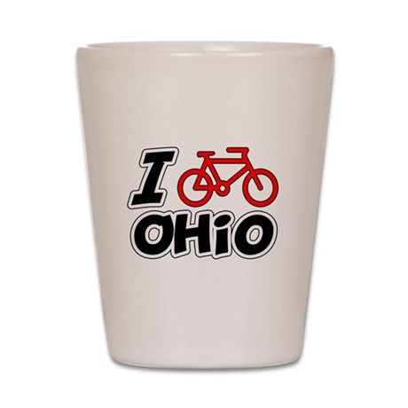 I Love Cycling Ohio Shot Glass