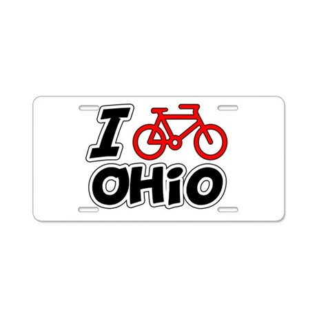 I Love Cycling Ohio Aluminum License Plate