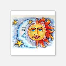 "Celestial Sun and Moon Square Sticker 3"" x 3"""