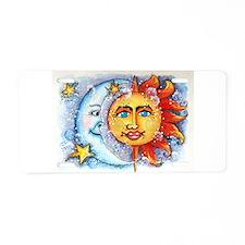 Celestial Sun and Moon Aluminum License Plate