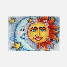 Celestial Sun and Moon Rectangle Magnet
