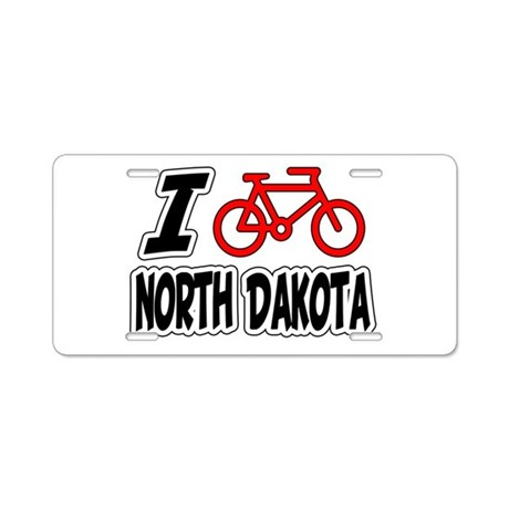 I Love Cycling North Dakota Aluminum License Plate
