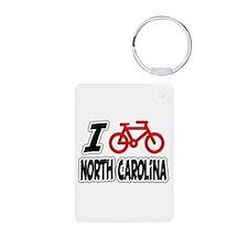 I Love Cycling North Carolina Keychains