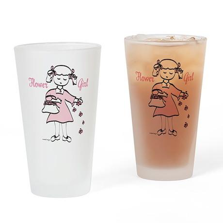 Pretty in Pink Flower Girl Drinking Glass