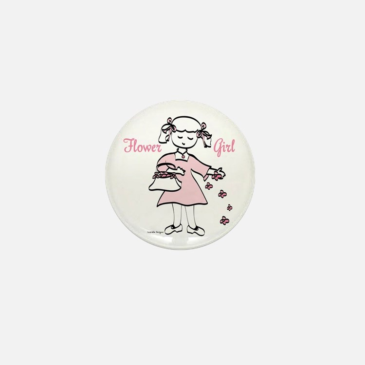 Flower Girl Pretty in Pink Mini Button