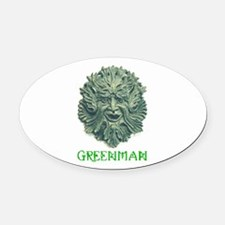 Funny Greenman Oval Car Magnet