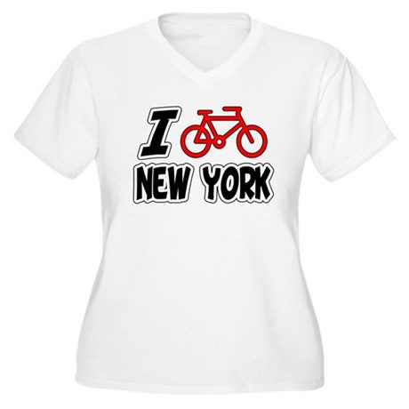 I Love Cycling New York Women's Plus Size V-Neck T