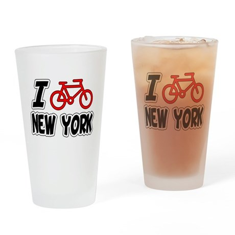 I Love Cycling New York Drinking Glass
