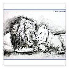 "Lions! Wildlife art! Square Car Magnet 3"" x 3"""
