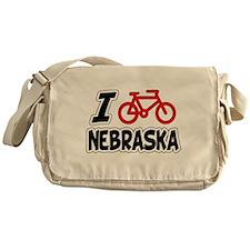 I Love Cycling Nebraska Messenger Bag
