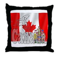 Silky Flag of Canada Throw Pillow