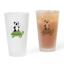 Turtle and Panda 1 Drinking Glass