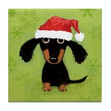 Doxie Clause Tile Coaster