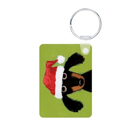 Doxie Clause Aluminum Photo Keychain
