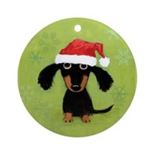 Doxie Clause Ornament (Round)