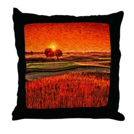 Fiery Sunrise over 16th Fairway Throw Pillow