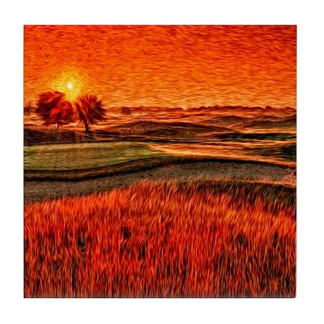 Fiery sunrise over 16th Hole tile coaster