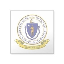"Massachusetts Seal.png Square Sticker 3"" x 3"""