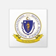 "Massachusetts Seal.png Square Sticker 3"" x 3"""