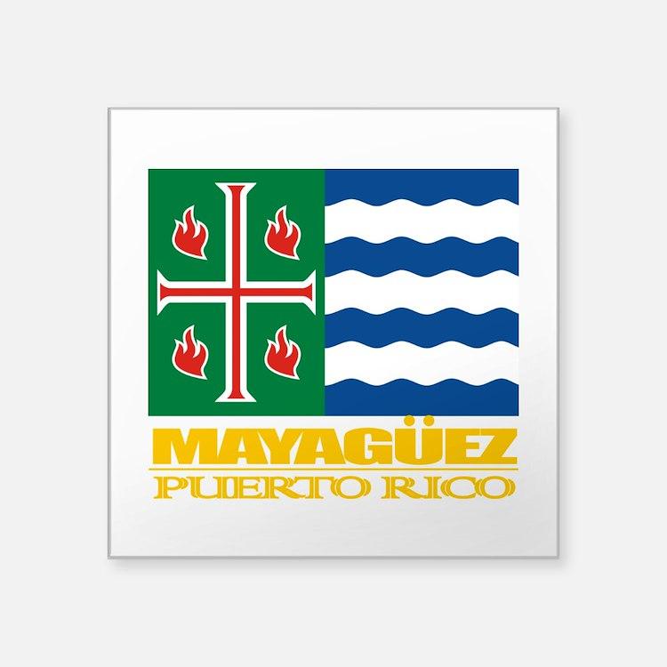 "Mayaguez Flag.png Square Sticker 3"" x 3"""