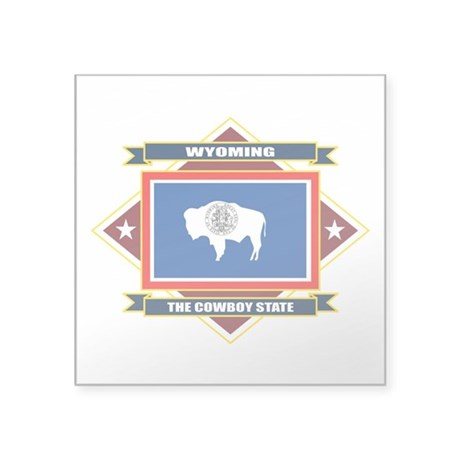 Wyoming flag square sticker 3 x 3 by nativeson2 for Wyoming flag coloring page