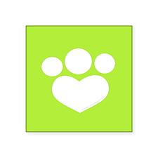 "Paw Print Heart Olive Square Sticker 3"" x 3"""