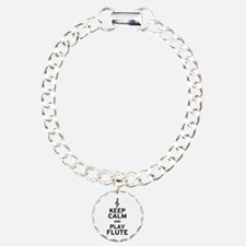 Keep Calm and Play Flute Charm Bracelet, One Charm