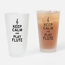Keep Calm and Play Flute Drinking Glass