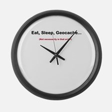 Eat, Sleep, Geocache... Large Wall Clock