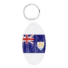 Anguilla Flag Aluminum Oval Keychain