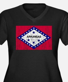 Arkansas Flag Women's Plus Size V-Neck Dark T-Shir