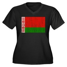 Belarus Flag Women's Plus Size V-Neck Dark T-Shirt