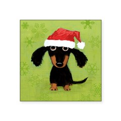 """Doxie Clause Square Sticker 3"""" x 3"""""""