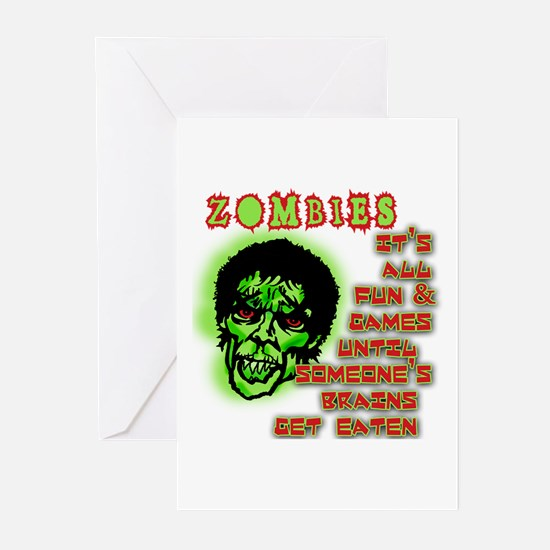 ZOMBIES Eat Brains! Greeting Cards (Pk of 10)