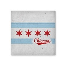 "Chicago City Flag - Vintage Square Sticker 3"" x 3"""