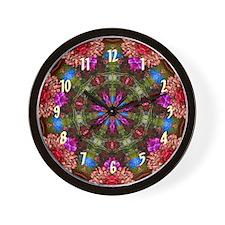 Flower Garden Wall Clock - Red