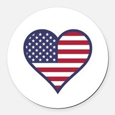American Flag Heart Round Car Magnet