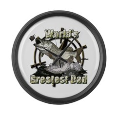 Worlds greatest dad Large Wall Clock
