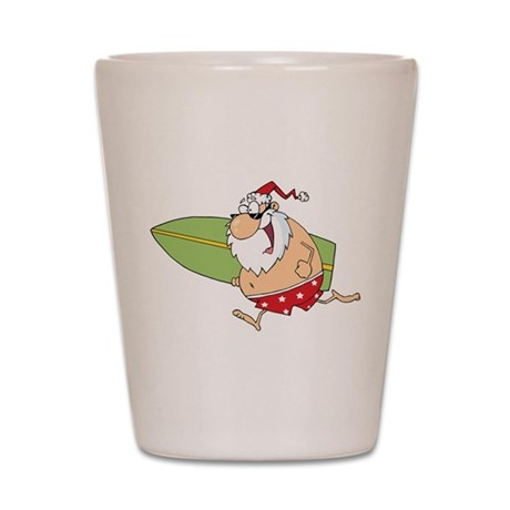 Surfing Santa Shot Glass