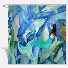 Dolphin Mermaid Party Shower Curtain