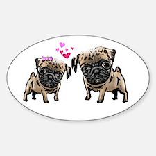 Valentine Pugs Oval Decal
