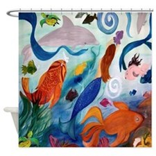 Tropical Fish And Mermaid Party Shower Curtain
