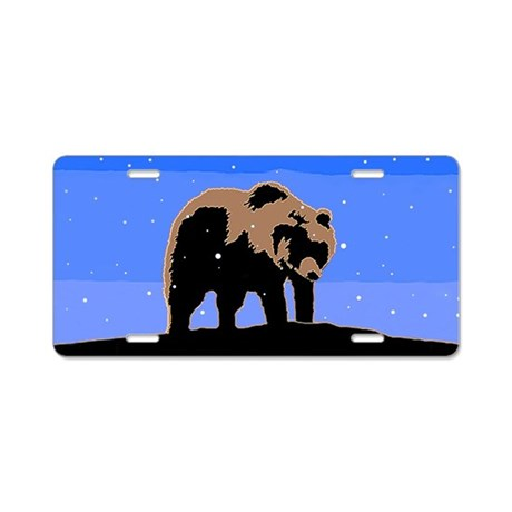 Winter Grizzly Bear Aluminum License Plate