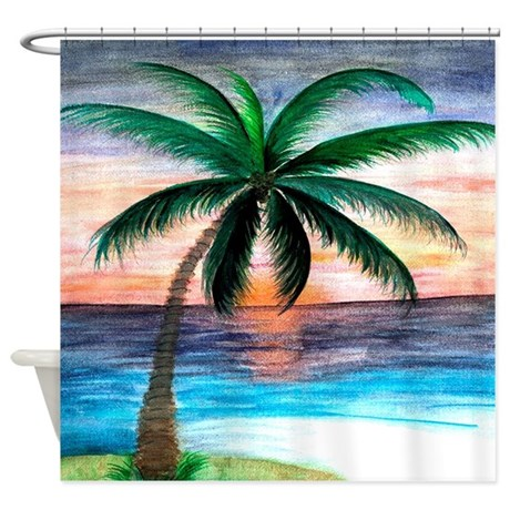Sunset Palm Tree Shower Curtain