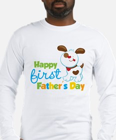 Puppy Dog Happy 1st Fathers Day Long Sleeve T-Shir