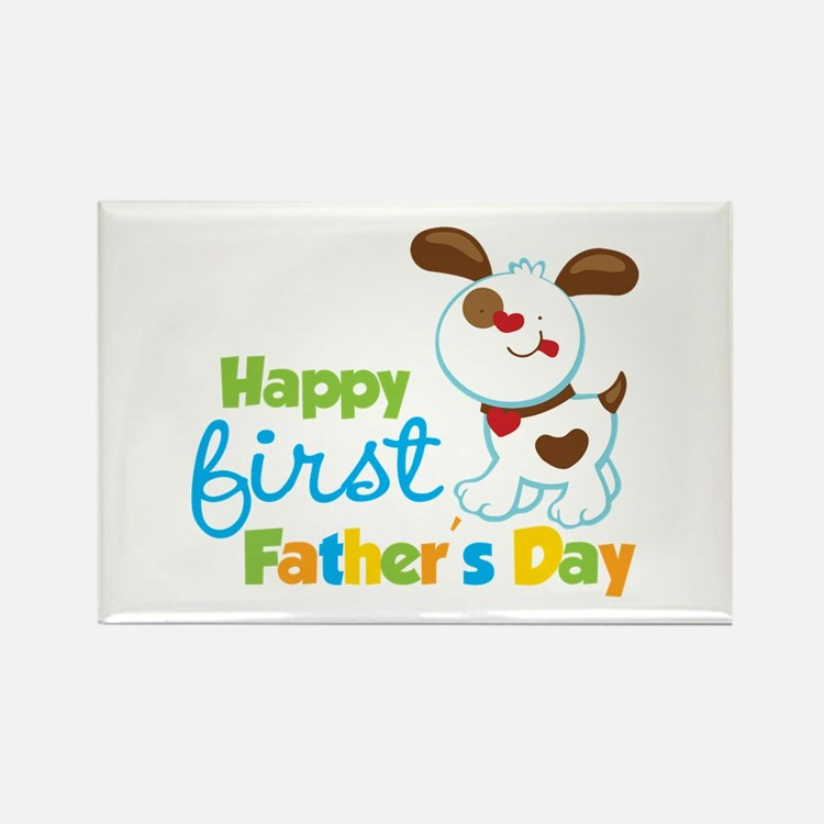 Puppy Dog Happy 1st Fathers Day Rectangle Magnet
