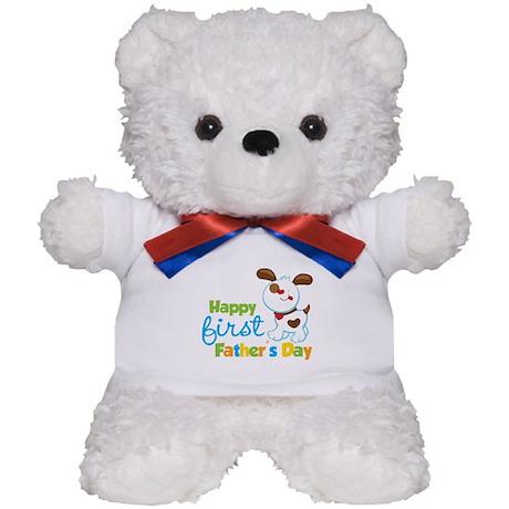 Puppy Dog Happy 1st Fathers Day Teddy Bear